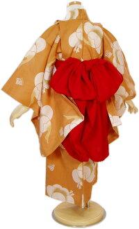 【こむさでもーど】子供浴衣「福鶴(カラシ色)3〜4歳」