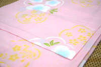 子供浴衣・キッズ浴衣・女の子【120cm・7〜8歳用】日本製・注染本染めゆかた「薄ピンク地に花」
