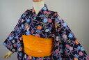 【売りつくしセール】子供浴衣(単品)・キッズ浴衣・女の子【120cm・7〜8歳用】紅型タイプ「桜と梅(黒)」