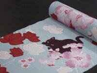 【撫松庵】【反物】浴衣(セオα)「芙蓉と猫(水色)」【05P27May16】