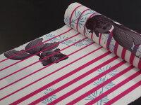 【撫松庵】【反物】浴衣(セオα)「金魚に縞(ローズ)」【10P03Sep16】