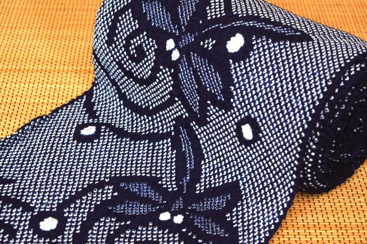 【有松鳴海絞り】高級絞り浴衣・反物「とんぼ(紺白)」【10P29Aug16】