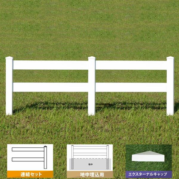 フェンス 樹脂 ホワイト アメリカン バイナルフェンス PVC 幅140cm 高さ90+(30)cm 連結セット 埋込用 2レールズランチ EXキャップ 2RR-E049/2RR-E050