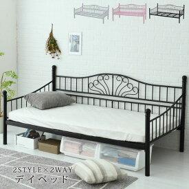 アイアンベッド クラシック シングル ベッド ソファ スチール製 2WAY 継脚付 スチール LNG-0002-JK