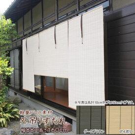 すだれ 屋外 外吊りすだれ HAYATON 軽量 PVC 人工素材 幅88×高さ160cm 巻き上げ 防腐 防炎 耐熱