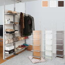 日本製 突っ張り 間仕切り 収納棚 パーテーション 棚板5段 幅60cm ディスプレイラック 背面化粧板 NJ-0428/NJ-0429/NJ-0430