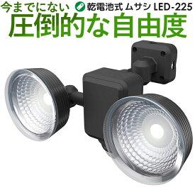 【49%引き】 LEDセンサーライト ムサシ RITEX 1.3W×2灯 フリーアーム式 LED乾電池センサーライト (LED-225) センサーライト led 防犯ライト 電池 人感センサー ライト 屋外 ledライト 照明 セキュリティ用 防犯グッズ