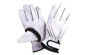 川西工業【KAWANISHI】作業手袋/皮手袋/牛皮 2270 牛床革マジック 黒アテ付 M・Lサイズ(シロ) 10双組セット