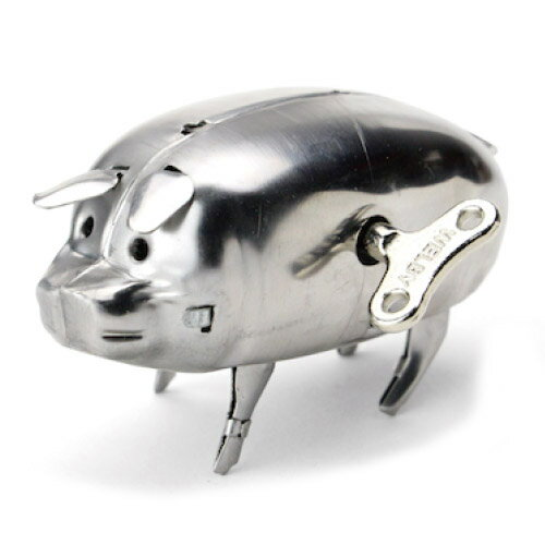 Roost Polished Steel Wind Up Pig ポリッシュッドスチールワインドアップ ピッグ ブタ