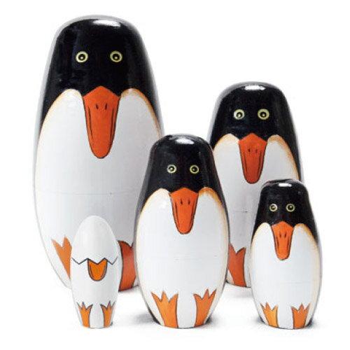 マトリョーシカ ペンギン ペンギンリョーシカ penguinryoshka インテリア かわいい 置物 オブジェ デザイン プレゼント 動物 マトリョーシュカ 木製 / WakuWaku