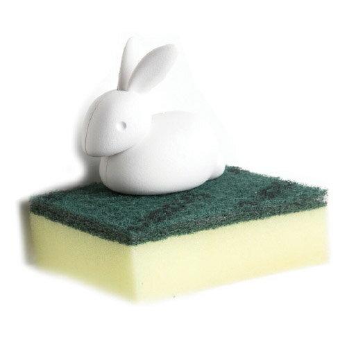 キッチン 収納 便利グッズ ウサギ スポンジ スポンジホルダー うさぎ 【 QUALY / クオーリー 】Sponge Bunny 置き セット 便利 キッチン バスルーム 洗面台 ホルダー 吸盤 かわいい プレゼント キッチン雑貨 / WakuWaku