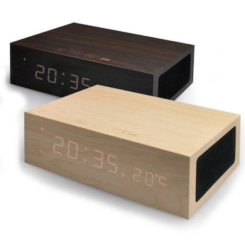 ( 送料無料 ) 木目 時計 シンプル 無垢 Bluetooth アラーム クロック スピーカー ボックス Craft Bluetoothスピーカー 温度計 iPhone 目覚まし時計 おしゃれ かっこいい 置時計 スマホ ウッド 木 便利 充電 / WakuWaku