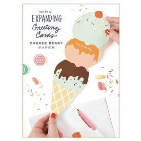 【 メール便 】 バースデーカード おしゃれ グリーティングカード バースデーカード プレゼントボックス アイスクリーム カード Birthday Card Set メッセージカード 封筒付き セット おもしろ インパクト 輸入 海外 珍しい / WakuWaku