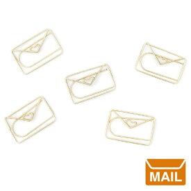 【 メール便 】 おもしろ 文具 手紙 の形 ラブレター レター クリップ Envelope Paper Clips 書類 手の形 ゴールド 金 文房具 おもしろ プレゼント / WakuWaku
