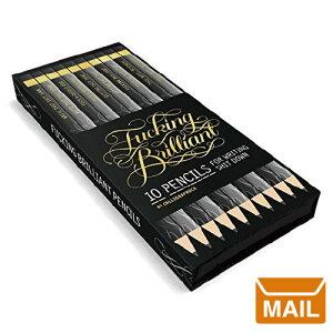 【 メール便 】 文房具 おしゃれ プレゼント 海外文具 鉛筆 10本セット ( ブラック) Fucking Brilliant Pencils デザイナー 文具 高級 珍しい デスクオブジェ デザイン えんぴつ 消しゴム / WakuWaku