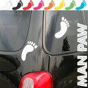 人間 足あと シール MANPAW(足跡)カー 自動車 ウインドー ボード デカール シール 足あと