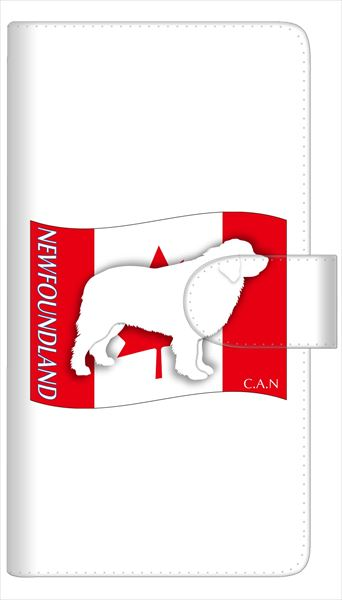 AQUOS sense SH-01K SHV40 ケース 全機種対応 手帳型 スマートフォンケース 多機種対応【ニューファンドランド】iPod touch 6 Xperia Z5 compact SO-02K SO-01K SH-01K iPhone6横開き 革 レザーケース カバー 手帳式 ペット イヌ