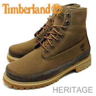 Timberland(timbarando)HERITAGE Summer Boots Canvas(遺產財長筒靴帆布)黄金的淺駝色長草區cut/咖啡酒精飲料帆布[鞋、長筒靴·鞋]