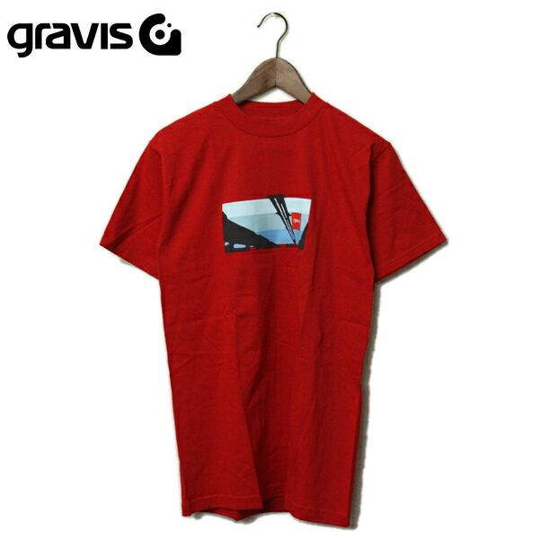 gravis(グラビス)グラフィック プリントTシャツ レッド メンズ,アメリカ,USA,Tシャツ,赤,半袖,カジュアル,ストリート,スポーツ,グラヴィス,シンプル,希少,レア