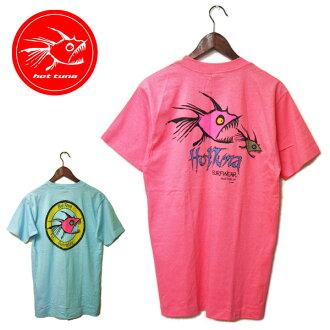 在HOT TUNA(熱的金槍魚)80年代鋸刺鮭印刷T恤人,T恤,名牌,澳大利亞,休閒,衝浪,86年,滯銷商品,粉紅,藍色在87年罕見并且罕見的