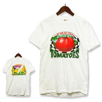 90年代印刷T恤蕃茄香蕉人SIGNAL MEGA-TEE(信號百萬球座),T恤,滯銷商品,白,休閒,罕見的罕見并且bob,calleja