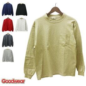 GOODWEAR(グッドウェア)胸ポケット付き 長袖 Tシャツ メンズ,アメリカ,USA,グッドウェアー,ネイビー,チャコール,グレー,レッド,ベージュ,無地,カジュアル,アメカジ,シンプル,デッドストック,希少,レア