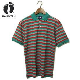 【セール】HANG TEN(ハンテン)ワンポイント刺繍入り ボーダー ポロシャツ メンズ,アウトレット,カジュアル,サーフ,グリーン,レッド,希少,レア