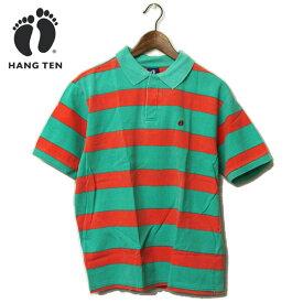 HANG TEN(ハンテン)ワンポイント刺繍入り ボーダー ポロシャツ メンズ,アウトレット,カジュアル,サーフ,グリーン,ピンク,希少,レア