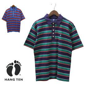 【セール】HANG TEN(ハンテン)ボーダー ポロシャツ メンズ,アウトレット,ブランド,パープル,グリーン,レッド,ブルー,カジュアル,半袖,カラフル,希少,レア
