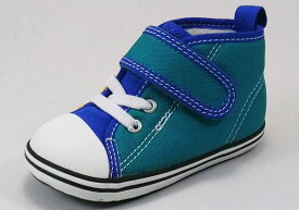【CONVERSE】ベビー オールスターN CC V-1 グリーン/ブルー/イエロー 【ベビー靴】【子供靴】【ルーミーラスト】【フレックスソール】【フレックスポイント】【オープンタン】【抗菌リムーバルインソール】【ビックタブ】【フィットインナー】