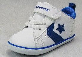 【CONVERSE】ミニP-L N ホワイト/ブルー【ベビー靴】【子供靴】【定番】【ルーミーラスト】【リムーバルインソール】【ビックタブ】【フィットインナー】【オープンタン】