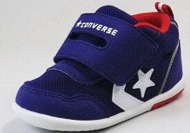 【CONVERSE】ミニRS2ネイビー/ホワイト【ベビー靴】【子供靴】【マジックタイプ】【ファーストシューズ】【ルーミーラスト】【フレックスポイント】【オープンタン】【カップインソール】【ビックタブ】