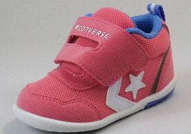 【CONVERSE】ミニRS2ピンク/ホワイト【ベビー靴】【子供靴】【マジックタイプ】【ファーストシューズ】【ルーミーラスト】【フレックスポイント】【オープンタン】【カップインソール】【ビックタブ】
