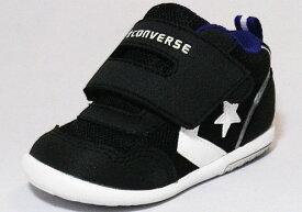 【CONVERSE】ミニRS2ブラック/ホワイト【ベビー靴】【子供靴】【マジックタイプ】【ファーストシューズ】【ルーミーラスト】【フレックスポイント】【オープンタン】【カップインソール】【ビックタブ】