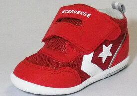 【CONVERSE】ミニRS2レッド/ホワイト【ベビー靴】【子供靴】【マジックタイプ】【ファーストシューズ】【ルーミーラスト】【フレックスポイント】【オープンタン】【カップインソール】【ビックタブ】