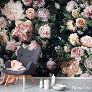 壁紙のり付きおしゃれクロス輸入壁紙紙店舗内装撮影ドイツ製補修クロス店舗内装リビングトイレ玄関模様替えリフォーム撮影用ウォールペーパーピンク薔薇バラローズ花花柄フラワー植物[ヴィクトリアブラック]6035A-VD4