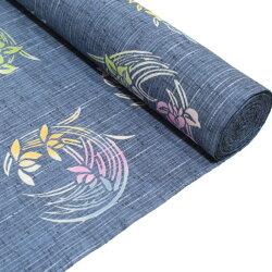 竺仙浴衣反物ゆかた綿紬グレー地菖蒲桔梗花丸(17-0412)国内手縫いお仕立付き送料無料