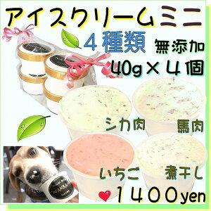 犬のアイスクリーム 4種類(ミニサイズ40g)セット (馬肉・煮干し・いちご・バナナ味)無添加 小型犬用Sサイズ 暑い。熱中症対策 食欲不振 夏バテ 体温調節 ひんやり 冷たい 贈り物 ギフ