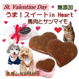 犬用のバレンタインの無添加チョコレート うま!スイートinハート ハート型BOX入り ギフトに人気 おやつ プレゼント お手軽な贈り物 帝塚山WANBANAワンバナ 製造 わんちゃん用の 義理チョコに