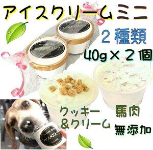 犬のアイスクリーム 馬肉チップとクッキークリームの2種類(ミニサイズ40g)セット 無添加 小型犬用Sサイズ 暑い。熱中症対策 食欲不振 夏バテ 体温調節 ひんやり 冷たい 贈り物 ギフト 贈