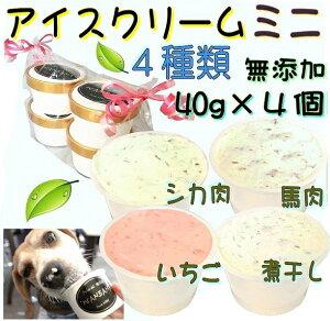 犬のアイスクリーム 4種類(ミニサイズ40g)セット (馬肉・煮干し・いちご・バナナ味)無添加 小型犬用Sサイズ 暑い。熱中症対策 食欲不振 夏バテ 体温調節 ひんやり 冷たい 贈り物 ギフト