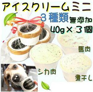犬のアイスクリーム 馬肉チップと鹿肉チップと煮干しクリームの3種類(ミニサイズ40g)セット 無添加 小型犬用Sサイズ 暑い。熱中症対策 食欲不振 夏バテ 体温調節 ひんやり 冷たい 贈り物