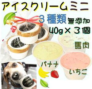 犬のアイスクリーム イチゴ馬肉チップとバナナ馬肉チップと馬肉チップの3種類(ミニサイズ40g)セット 無添加 小型犬用Sサイズ 暑い。熱中症対策 食欲不振 夏バテ 体温調節 ひんやり 冷た