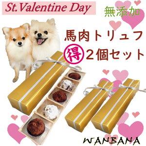 犬用 バレンタイン チョコレート 馬肉トリュフ5個入り まとめ買い お得 2個セット ゴールドBOX入り 無添加 ギフト人気 おやつ プレゼント お手軽な贈り物 帝塚山WANBANAワンバナ 製造 愛犬用の