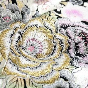 桂由美正絹黒留袖19点フルコーディネートレンタルセットレンタル和装小物セットフル着物披露宴安い「桂由美薔薇・蘭・桜の花尽くしモダン」