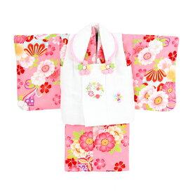 【レンタル】 着物 レンタル 女の子 1歳用 二部式着物 被布セット「ピンク地に八重桜とリボン」