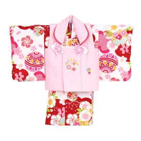 【レンタル】 祝着 1歳 女の子 着物 二部式着物 被布セット「赤・白地に鞠と花輪(被布:ピンク)」ひな祭り 衣装 初節句