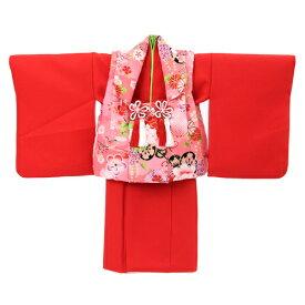 【レンタル】〔za2〕祝着 1歳 女の子 着物 二部式着物 被布セット「赤無地着物にピンク被布(花車と牡丹)」ひな祭り 衣装 往復送料無料 初節句