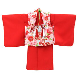 【レンタル】 祝着 1歳 女の子 着物 二部式着物 被布セット「赤無地着物に水色被布(桜と鞠)」ひな祭り 衣装 往復送料無料 初節句