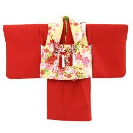 【最大1000円OFFクーポン】【レンタル】 祝着 1歳 女の子 着物 二部式着物 被布セット「赤無地着物に黄色被布(御所車と鼓)」ひな祭り 衣装 往復送料無料 初節句〔消費税込み〕